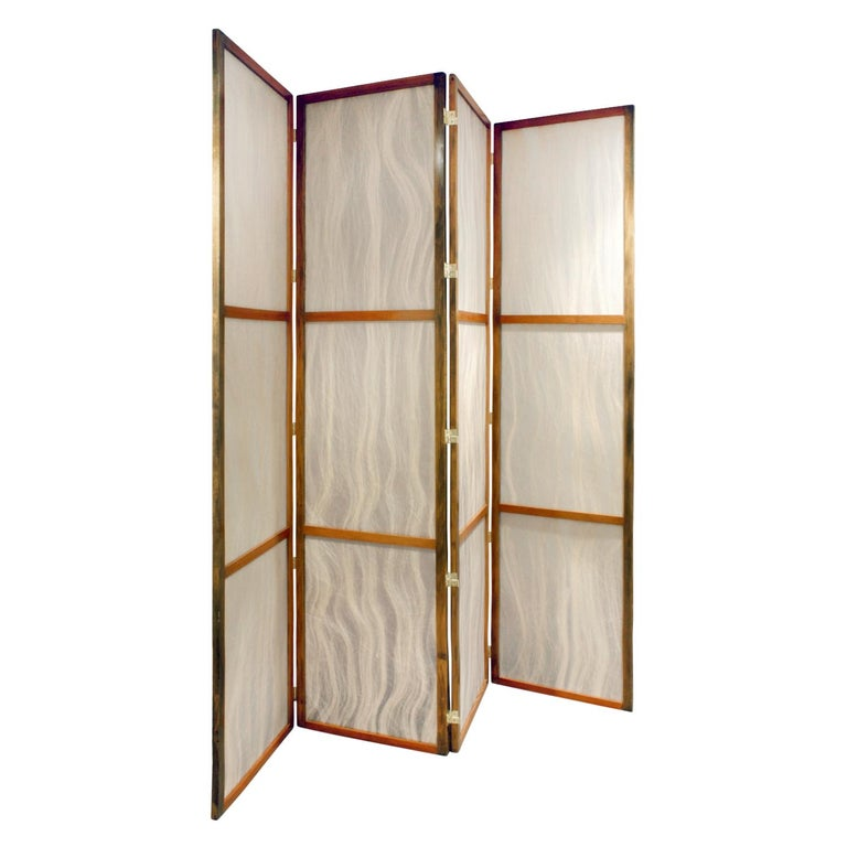 Mid-Century Modern Tall Screen with Inset Horse Hair Panels, 1960s For Sale