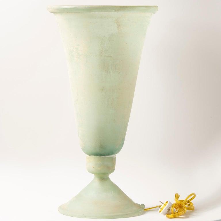 Italian Tall Seguso Vetri d'Arte Green Scavo Glass Lamp For Sale
