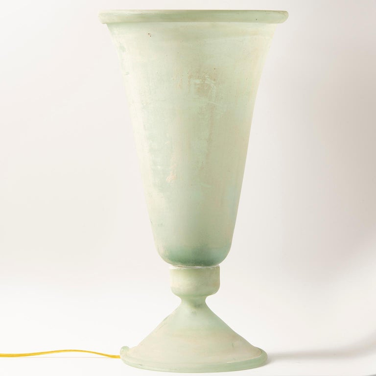 Tall Seguso Vetri d'Arte Green Scavo Glass Lamp In Excellent Condition For Sale In Troy, MI