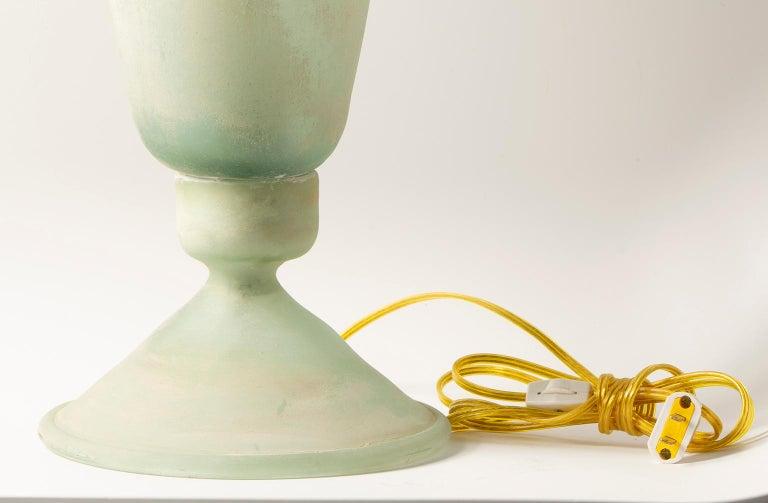 20th Century Tall Seguso Vetri d'Arte Green Scavo Glass Lamp For Sale