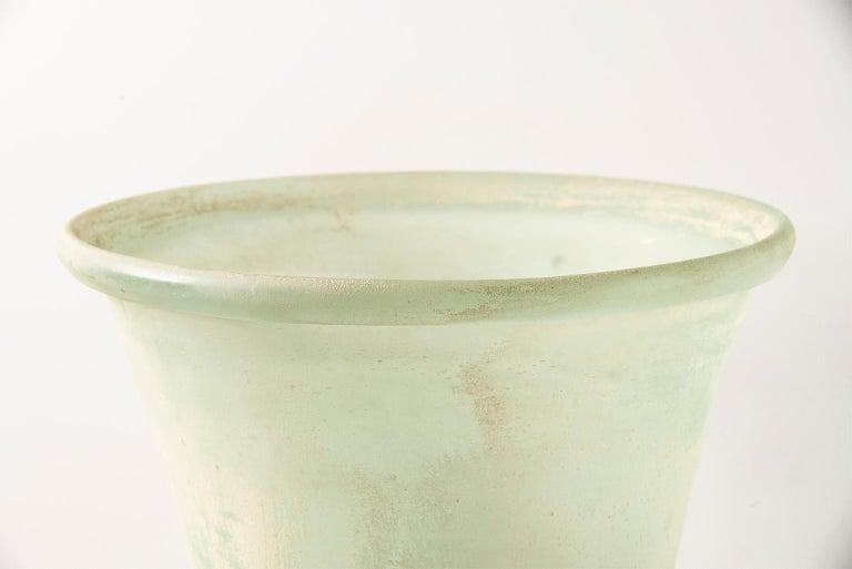 Tall Seguso Vetri d'Arte Green Scavo Glass Lamp For Sale 1