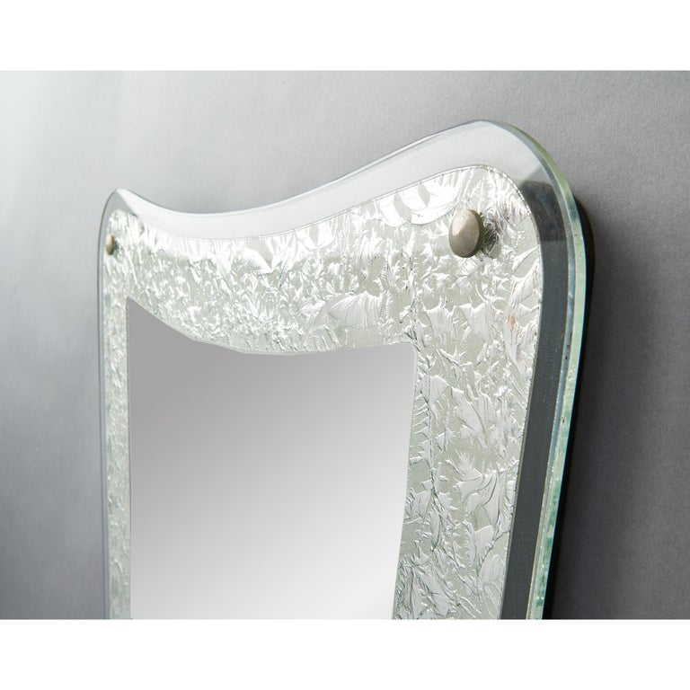 Mid-Century Modern Tall Shaped Silver Framed Italian Mirror, 1950s For Sale