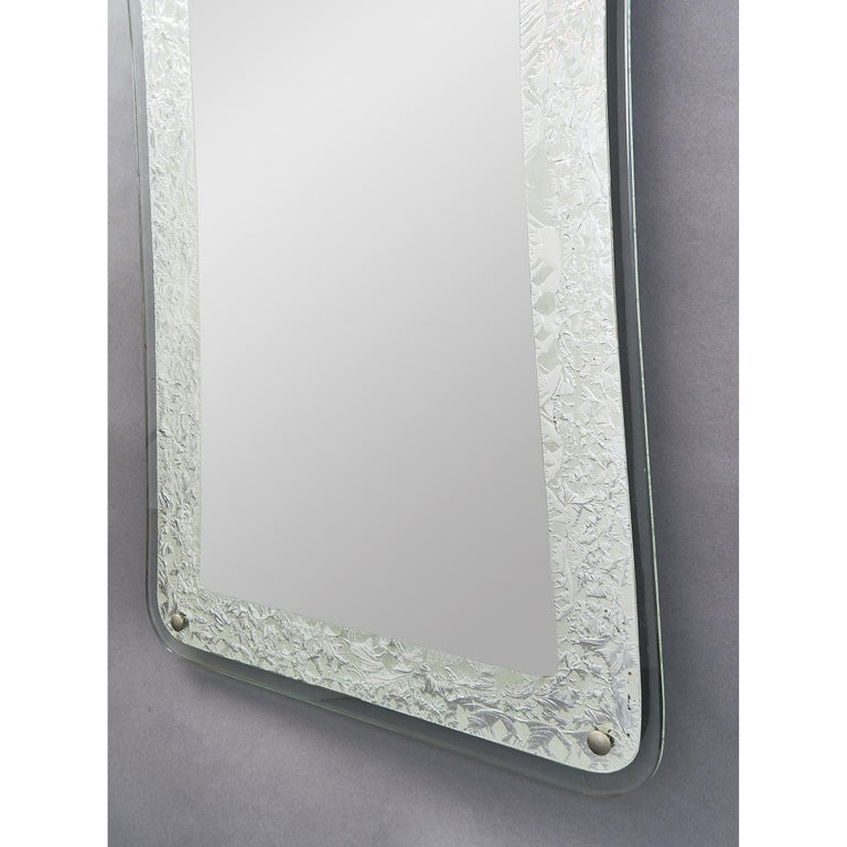 Tall Shaped Silver Framed Italian Mirror, 1950s In Good Condition For Sale In New York, NY