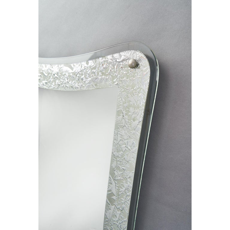 Glass Tall Shaped Silver Framed Italian Mirror, 1950s For Sale