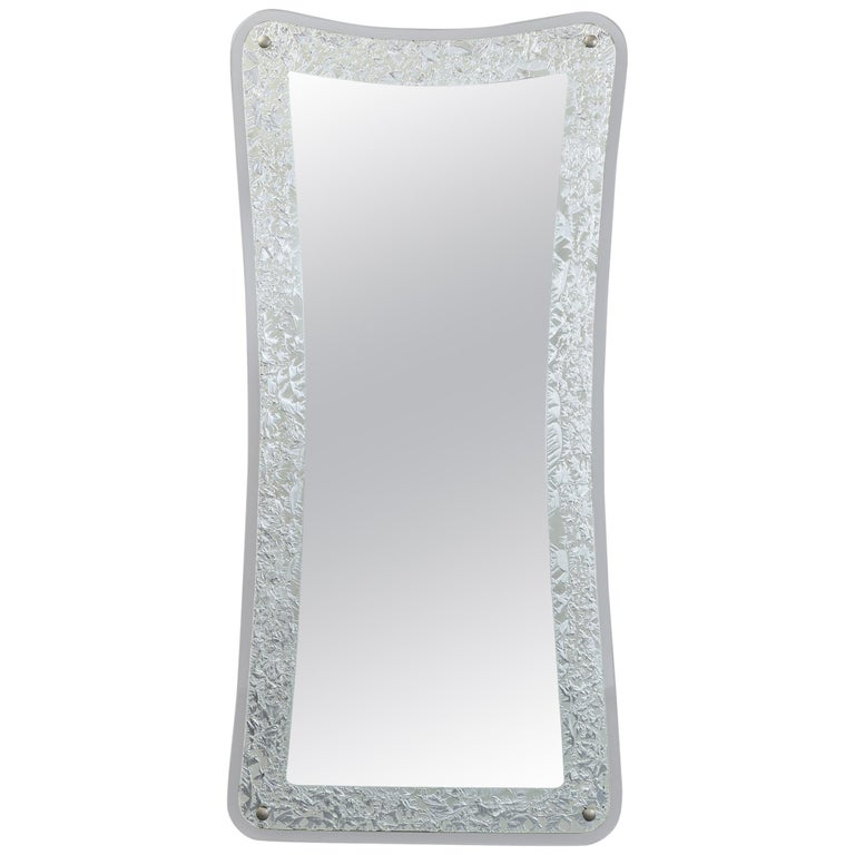 Tall Shaped Silver Framed Italian Mirror, 1950s For Sale