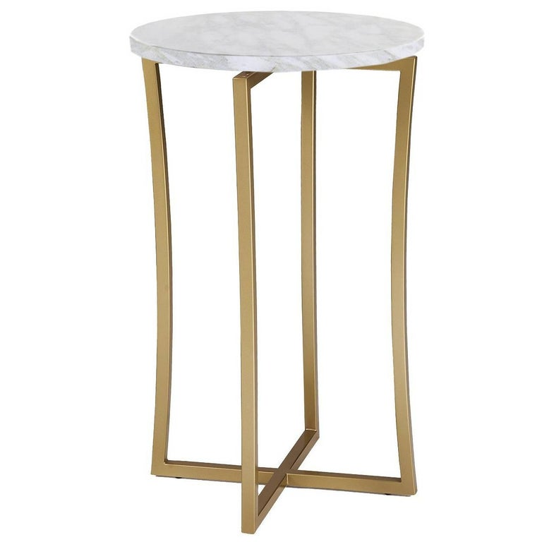 Tall Side Table with Calcatta Marble For Sale