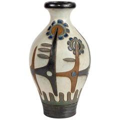 Tall Signed Dubois of Belgium Midcentury Ceramic Vase