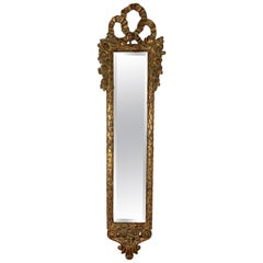 Tall Slim Wall Mirror in Giltwood Frame