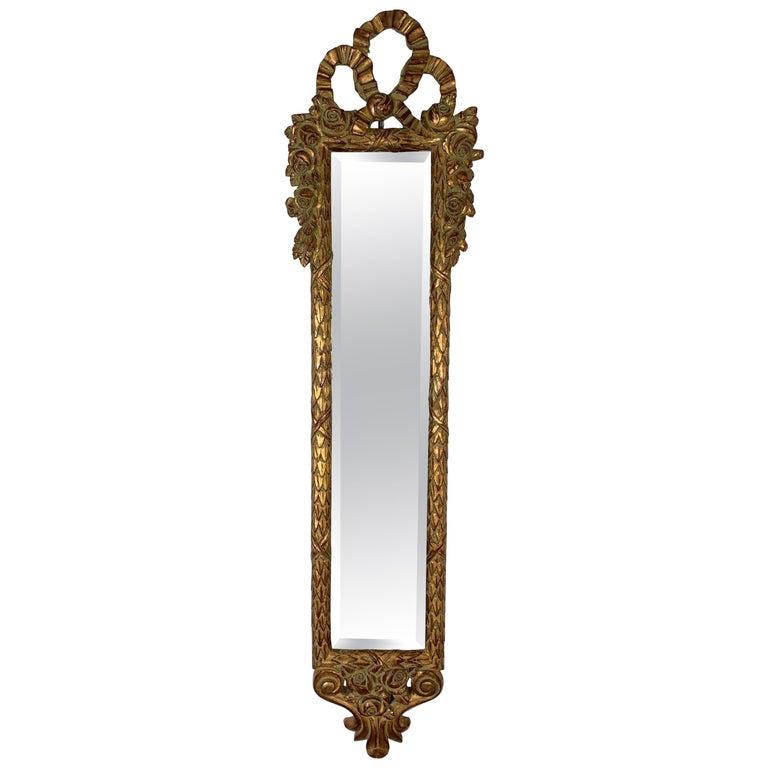Tall Slim Wall Mirror In Giltwood Frame, Long Narrow Venetian Mirror