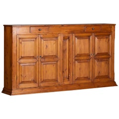 Tall Solid Pine Vintage French Buffet Credenza Cabinet, circa 1930