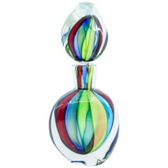 Tall Sommerso Murano Glass Decanter