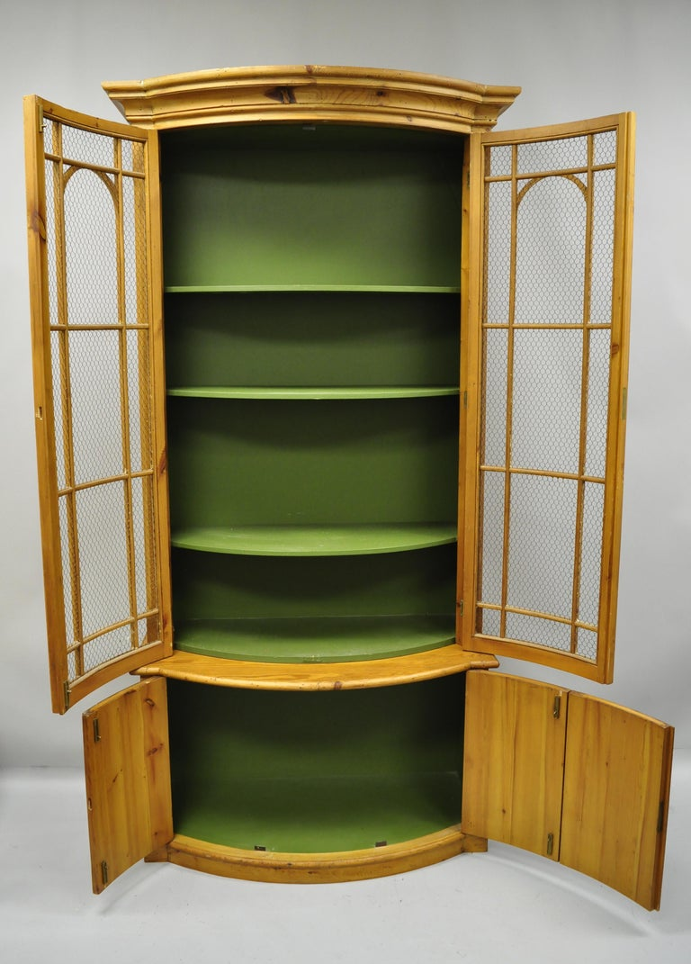 Tall Spanish Gothic Renaissance Wire Front Door Bookcase Hutch Cabinet In Good Condition For Sale In Philadelphia, PA