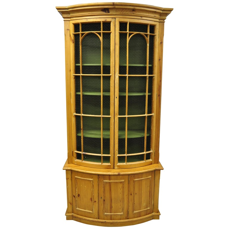 Tall Spanish Gothic Renaissance Wire Front Door Bookcase Hutch Cabinet For Sale