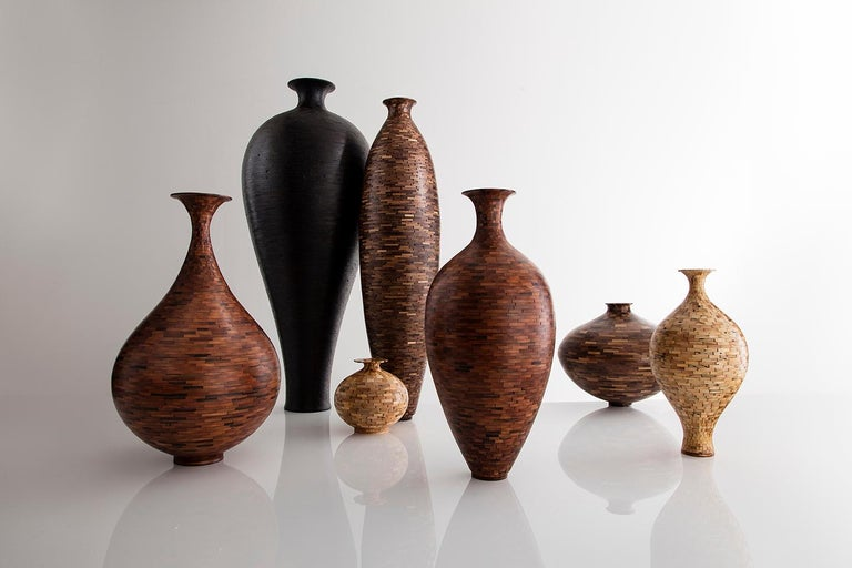 Carved Tall STACKED Alaskan Cedar Vase by Richard Haining, Shou Sugi Ban, Available Now For Sale