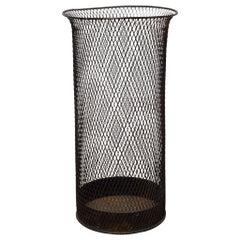 Tall Steel Mesh Waste Basket, circa 1920
