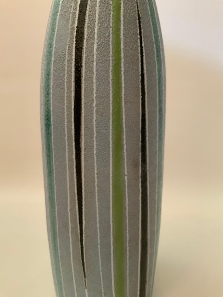 Italian Tall Striped Fratelli Fanciullacci for Raymor Art Pottery Vase For Sale