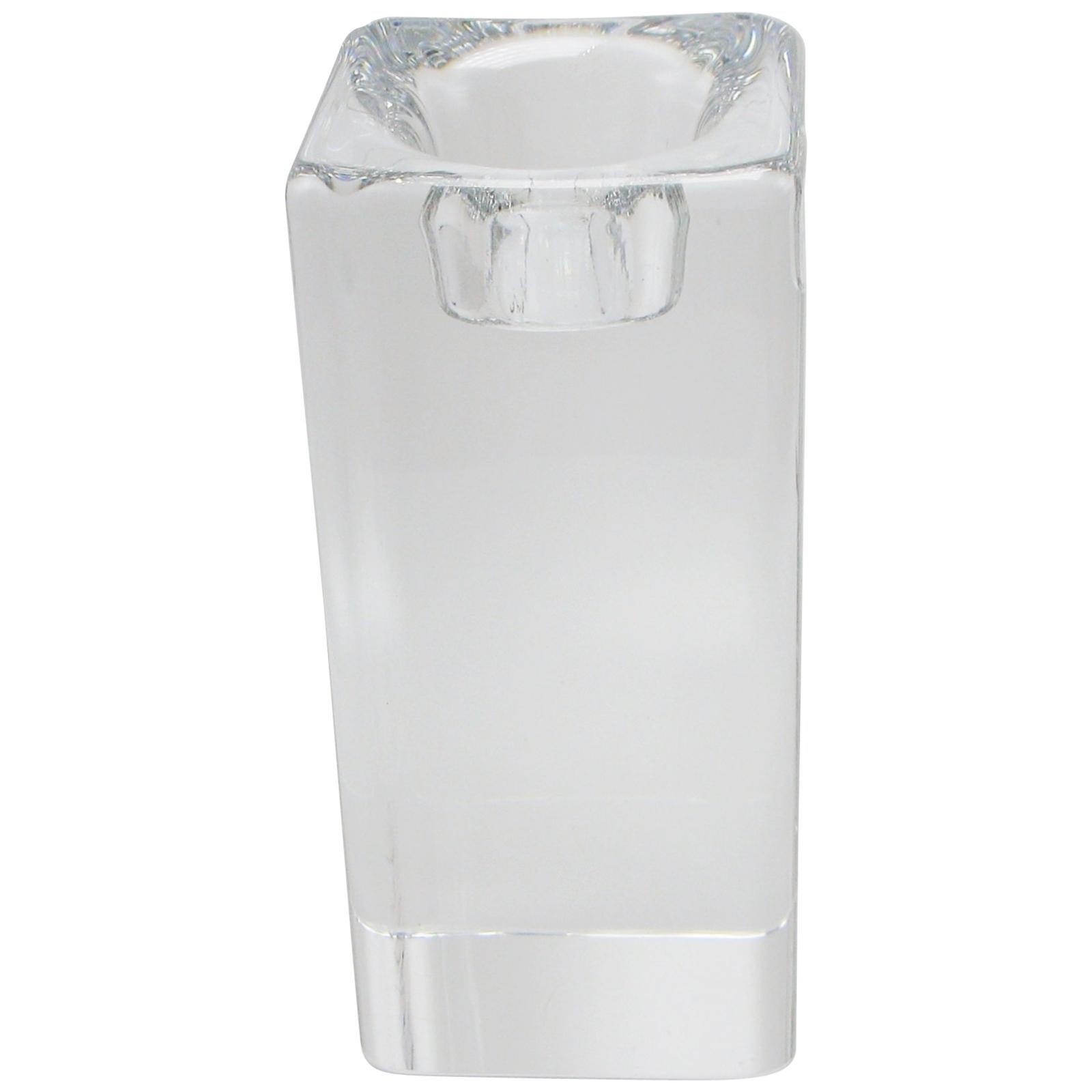 Tall Swedish Glass Block Candleholder by Goran Warff for Kosta Boda