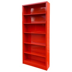 Tall Tanker Bookcase, Custom Refinished in Safety Orange