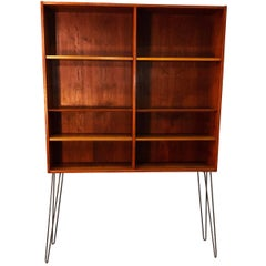 Tall Teak Bookcase with Iron Legs