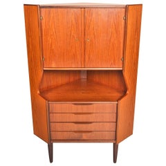 Tall Teak Corner Unit with Rosewood Bar