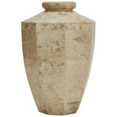 """Tall Tessellated Cantor Stone """"Octagon"""" Flower Vase, 1990s"""
