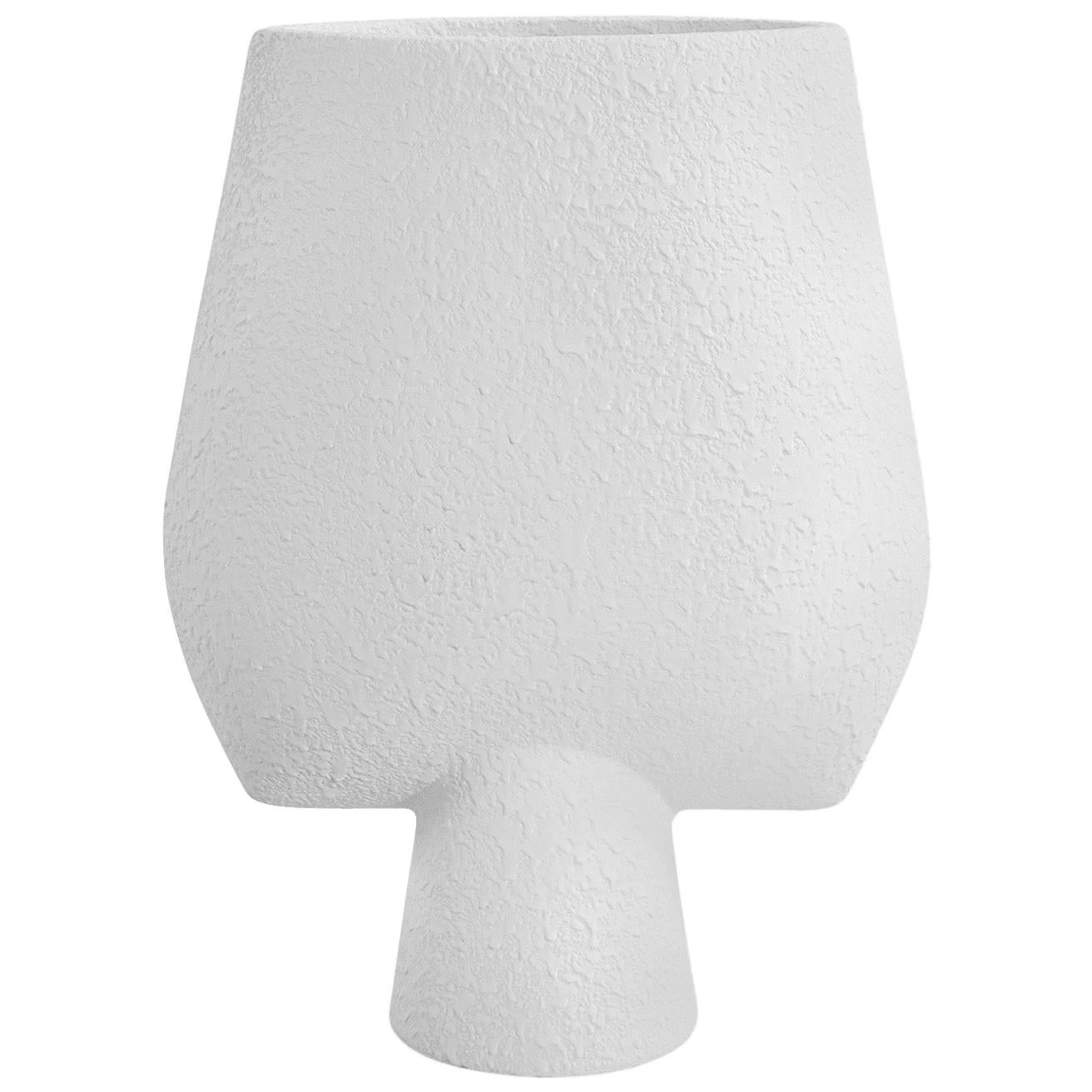 Tall Textured White Arrow Shaped Ceramic Vase, Denmark, Contemporary
