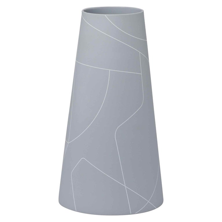 Tall Thin Medium Grey Conical Ceramic Vase With Graphic Line Pattern For Sale At 1stdibs