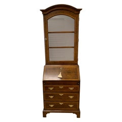 Tall Thin Secretary Secretaire Desk Banded Mahogany One-Piece