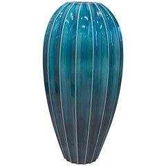 Tall Timeless Design Ceramic Malachite Green Glazed Ribbed Floor Vase by Oggetti