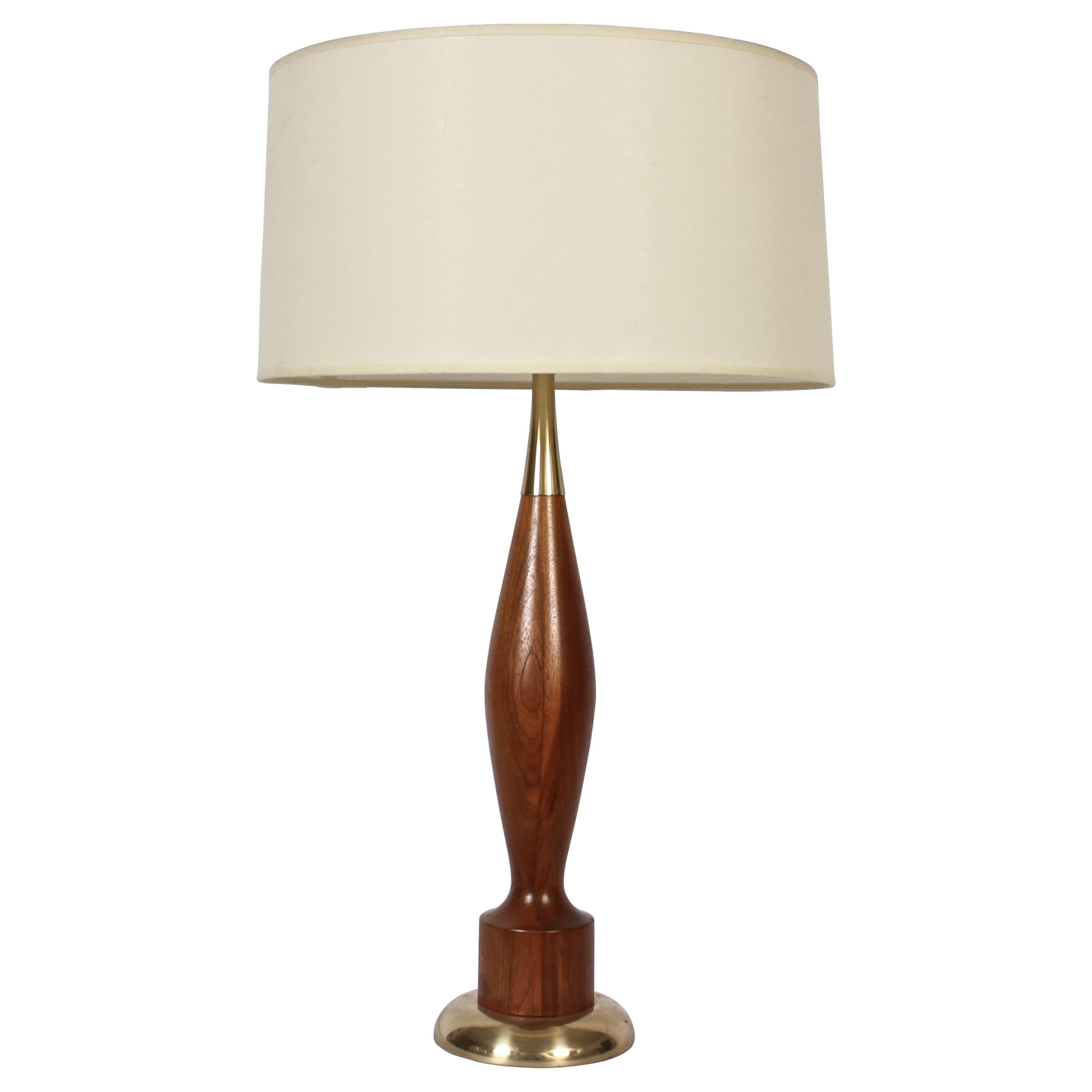 Tall Tony Paul for Westwood Industries Turned Walnut and Brass Table Lamp