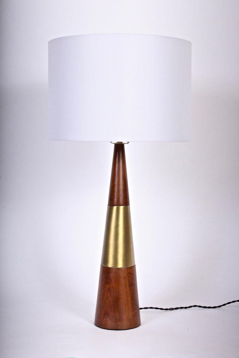 Tall Tony Paul for Westwood Swedish Brass & Solid Walnut Table Lamp, 1950s For Sale 4