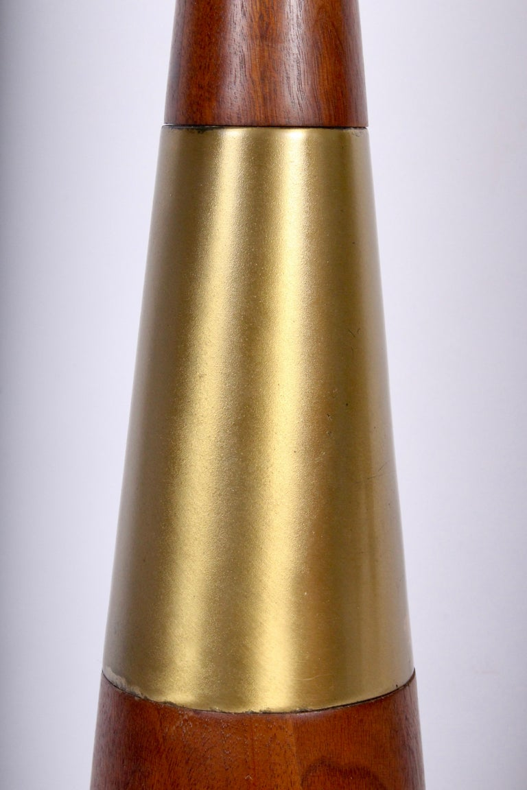 Tall Tony Paul for Westwood Swedish Brass & Solid Walnut Table Lamp, 1950s For Sale 1