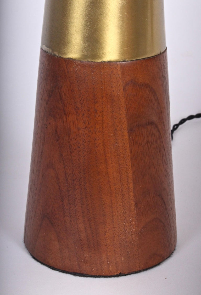 Tall Tony Paul for Westwood Swedish Brass & Solid Walnut Table Lamp, 1950s For Sale 2