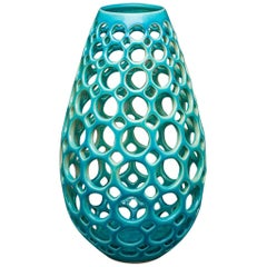 Tall Turquoise Teardrop Shaped Pierced Sculpture Vessel, In Stock