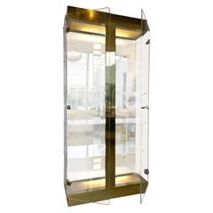 Tall Two-Door Tall Cabinet w/ Lucite, Brass, Wood & Reflective Gold Plastic