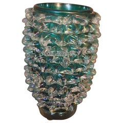 Tall Vase in Blue-Green Iridescent Murano Glass with Rostrato Spikes Decor
