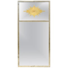 Tall Verre Églomisé Starburst Mirror with Two Panels