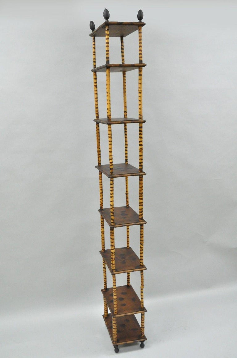 Tall Victorian English Charred Bamboo Stand 201 Tag 232 Re Bookcase Narrow Shelf For Sale At 1stdibs