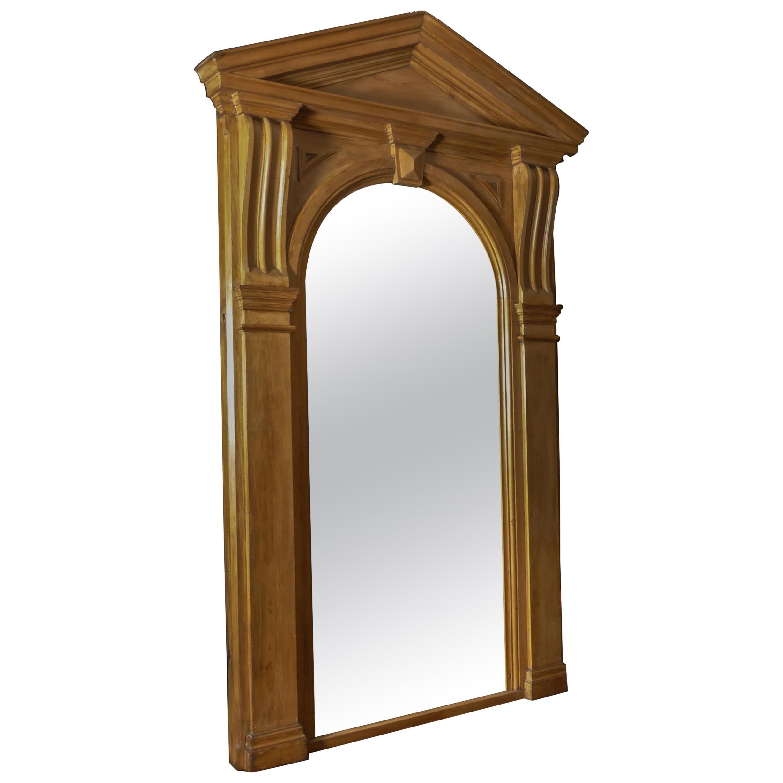 Tall Victorian Pine Architectural Mirror