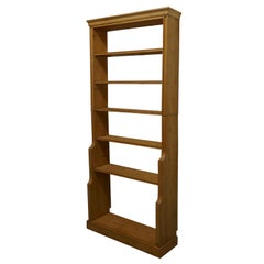 Tall Victorian Stripped Pine Open Bookcase.