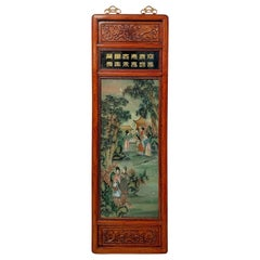Tall Vintage Chinese Export Reverse Glass Painted Hardwood Framed Hanging Panel