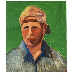 Tall Vintage Contemporary Portrait Painting of a Man in Bright Green