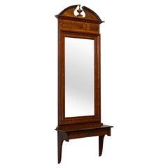 Tall, Vintage Hall Mirror, French, Walnut, Glass, Hallway, Portrait, circa 1930