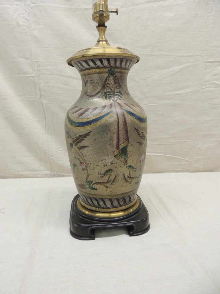 Chinoiserie Tall Vintage Hand Painted Ceramic Table Lamp For Sale