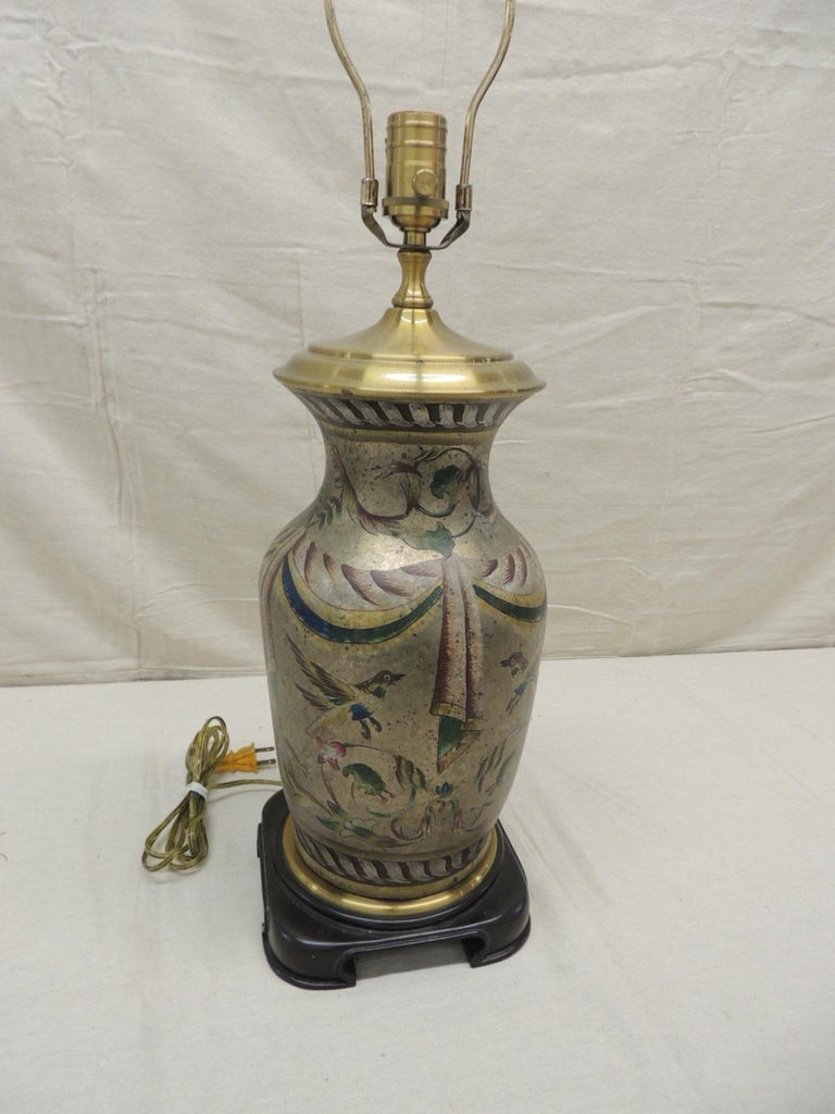 Asian Tall Vintage Hand Painted Ceramic Table Lamp For Sale