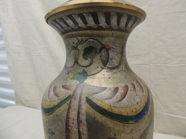 Hand-Painted Tall Vintage Hand Painted Ceramic Table Lamp For Sale