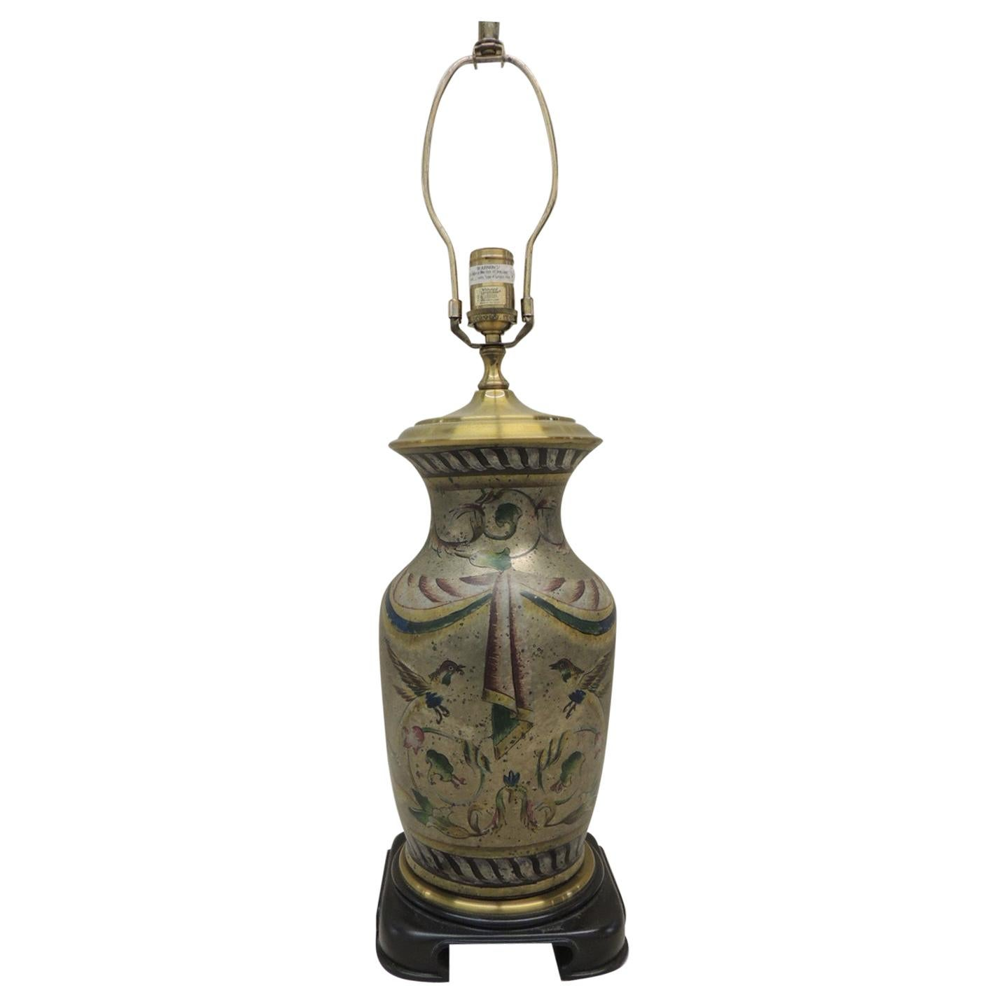 Tall Vintage Hand Painted Ceramic Table Lamp