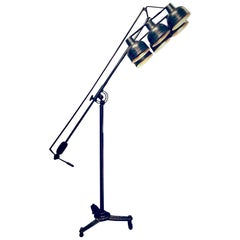Tall Vintage Industrial Photographic Metal Floor Lamp with Six Adjustable Shades