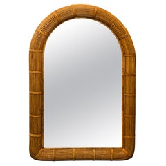 Tall Vintage Reeded Wicker Wall Mirror