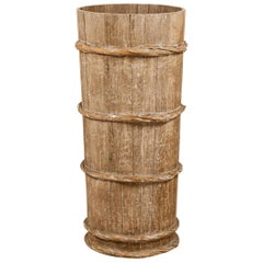 Tall Vintage Rustic Wooden Barrel with Slatted Body and Rope-Style Motifs